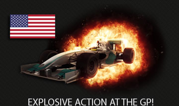 USA flag with a racing car explosion