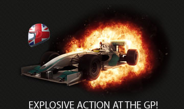 BRITISH helmut flag with a racing car explosion